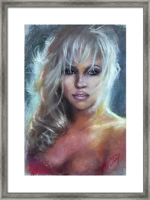 Pamela Anderson Framed Print by Ylli Haruni