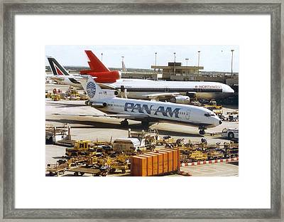 Pan American 727 Pushed Back From Its Gate At Frankfurt Framed Print