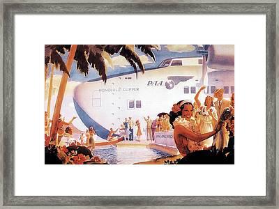 Pan American Airways - Hawaiians Greeting People - Retro Travel Poster - Vintage Poster Framed Print