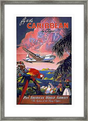 Pan American World Airways - Flying Clippers - Caribbean - Retro Travel Poster - Vintage Poster Framed Print