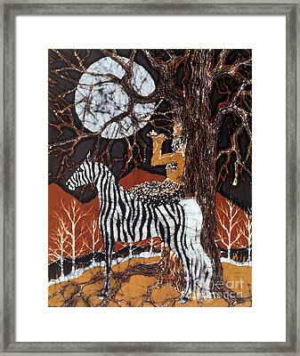 Pan Calls The Moon From Zebra Framed Print by Carol Law Conklin