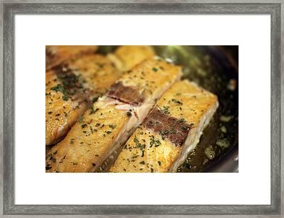 Pan Searing Salmon Framed Print by Erin Cadigan