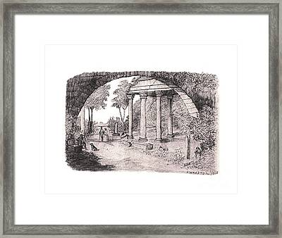 Pan Watching Ruins Of The Past Framed Print