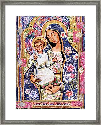 Framed Print featuring the painting Panagia Eleousa by Eva Campbell