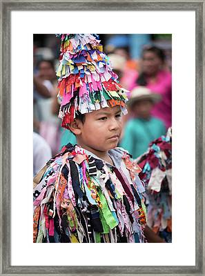 Panamanian Boy In Traditonal Costume Framed Print