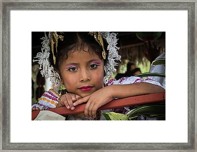Panamanian Girl On Float In Parade Framed Print
