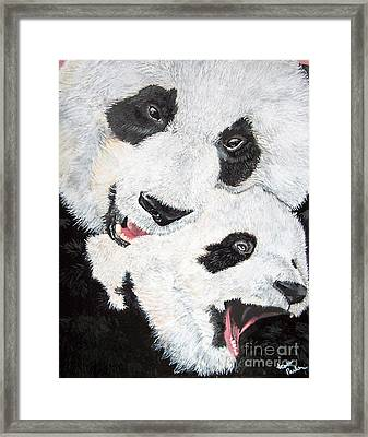 Panda And Baby Framed Print