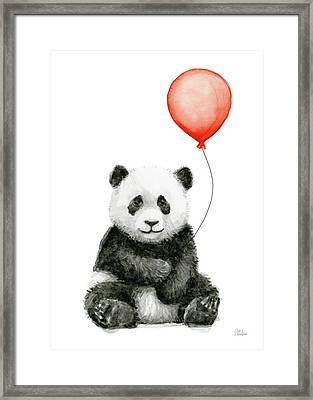 Panda Baby And Red Balloon Nursery Animals Decor Framed Print by Olga Shvartsur