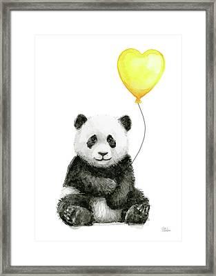 Panda Baby With Yellow Balloon Framed Print
