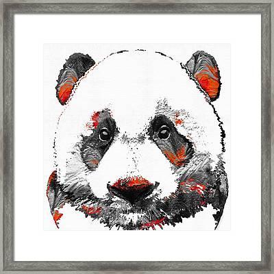 Panda Bear Art - Black White Red - By Sharon Cummings Framed Print