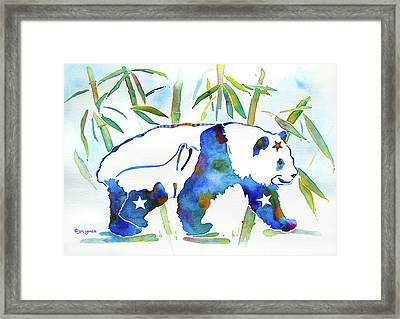 Panda Bear With Stars In Blue Framed Print