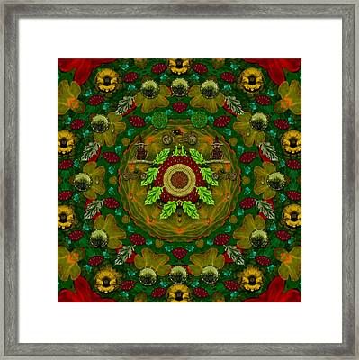 Panda Bears With Motorcycles In The Mandala Forest Framed Print