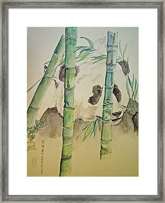 Framed Print featuring the painting Panda Eating  by Debbi Saccomanno Chan