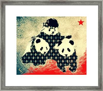 Panda Has A Posse  Framed Print