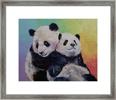 Panda Hugs Framed Print by Michael Creese