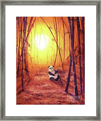 Panda In Golden Glow Framed Print by Laura Iverson