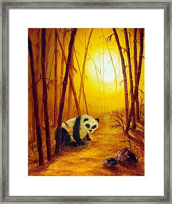Panda In Sunset Bamboo Framed Print by Laura Iverson