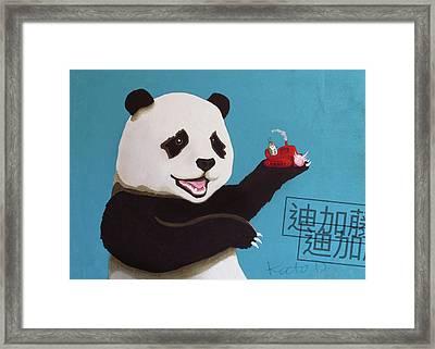 Panda Joy Blue Framed Print