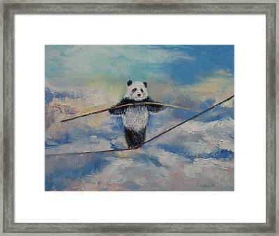 Panda Tightrope Framed Print by Michael Creese