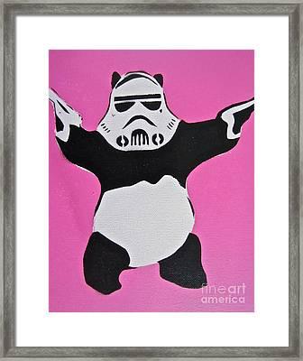Panda Trooper Framed Print by Tom Evans