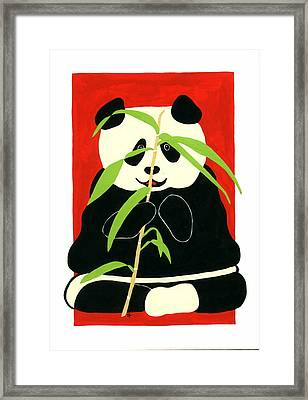 Panda With Bamboo Framed Print