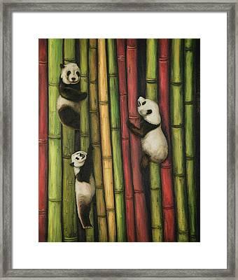Pandas Climbing Bamboo Framed Print by Leah Saulnier The Painting Maniac