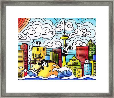 Pandas In Toronto Framed Print by Oiyee At Oystudio