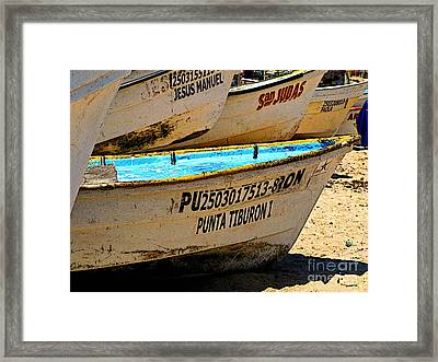 Pangas On The Beach Framed Print by Mexicolors Art Photography