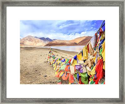 Framed Print featuring the photograph Pangong Tso Lkae by Alexey Stiop