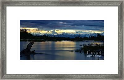 Pano Alaska Midnight Sunset Framed Print