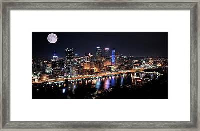 Pano And Moon Pittsburgh 2017 Framed Print