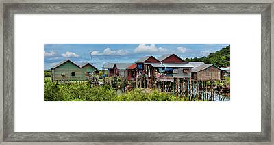 Pano Tonle Sap Homes  Framed Print