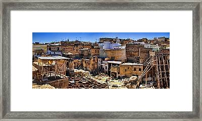 Panorama Of The Ancient Tannery In Fez Morocco Framed Print