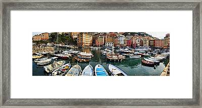 Panorama 2 Of Camogli Fishing Village On The Italian Rivi Framed Print by David Smith