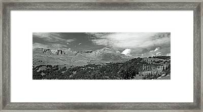Panorama Alps Switzerland In Black And White Framed Print