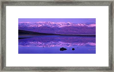 Panorama Badwater And The Panamint Range At Sunrise Death Valley Framed Print