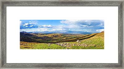 Framed Print featuring the photograph Panorama Of A Colourful Undulating Irish Landscape In Kerry by Semmick Photo