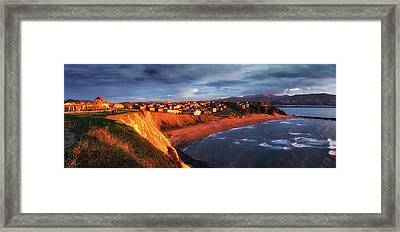 Panorama Of Aixerrota Sunset Framed Print by Mikel Martinez de Osaba