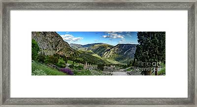 Panorama Of Ancient Delphi And The Temple Of Apollo, Delphi, Greece Framed Print