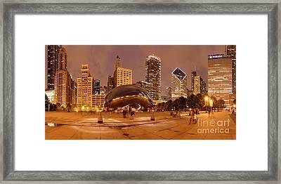 Panorama Of Anish Kapoor Cloud Gate Aka The Bean At Millenium Park - Chicago Illinois Framed Print by Silvio Ligutti