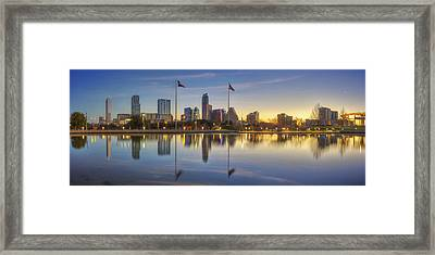 Panorama Of Austin Texas In February 1 Framed Print by Rob Greebon