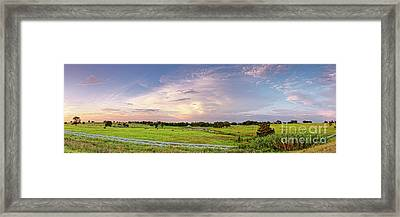 Panorama Of Bales Of Hay In A Field - Chappell Hill Texas Framed Print by Silvio Ligutti