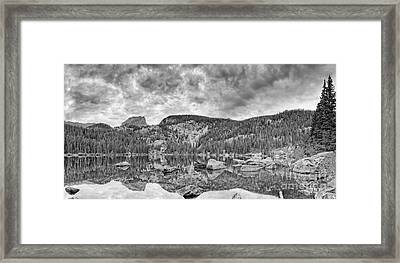 Panorama Of Bear Lake And Halletts Peak In Monochrome - Rocky Mountain National Park Estes Park Colo Framed Print by Silvio Ligutti