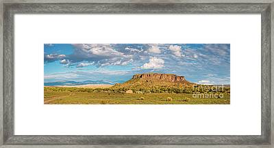Panorama Of Black Mesa At San Ildefonso Pueblo - New Mexico Land Of Enchantment Framed Print