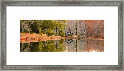 Panorama Of Cabin By The Lake Framed Print by Shelby  Young