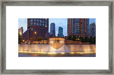 Panorama Of Centennial Fountains At Twilight Chicago River - Near North Side Chicago Illinois Framed Print
