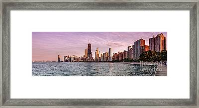 Panorama Of Chicago From North Avenue Beach Lincoln Park - Chicago Illinois Framed Print by Silvio Ligutti