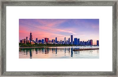 Panorama Of Chicago Skyline From Shedd Aquarium - Chicago Illinois Framed Print by Silvio Ligutti