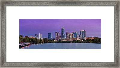 Panorama Of Downtown Austin Skyline From The Lady Bird Lake Boardwalk Trail - Texas Hill Country Framed Print