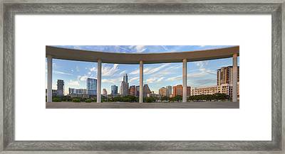 Panorama Of Downtown Austin Texas On A Summer Evening 1 Framed Print by Rob Greebon